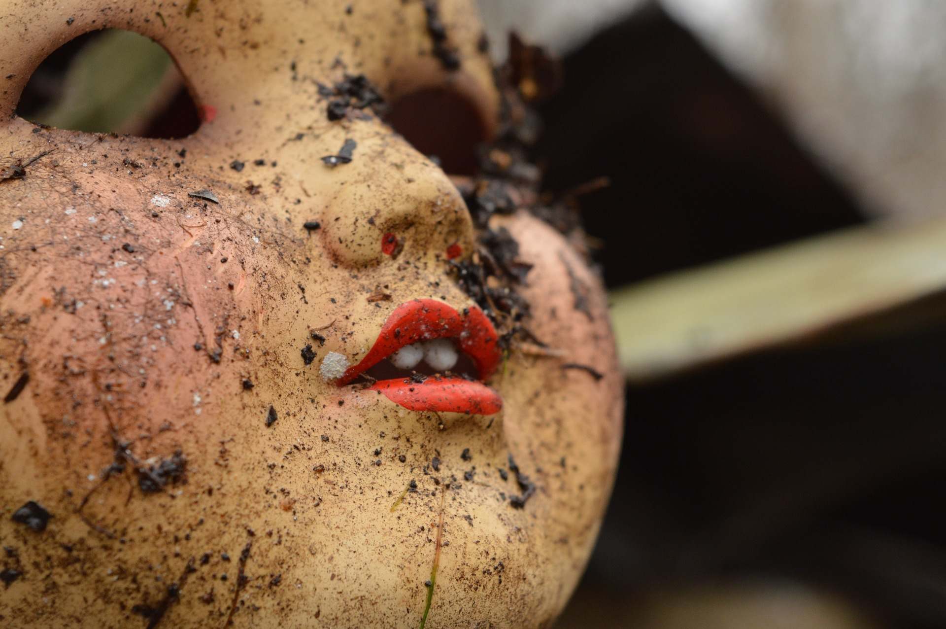 Face of doll soiled with garden dirt.